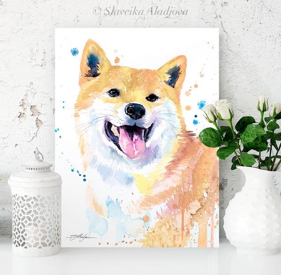 Cream Shiba Inu watercolor painting print by Slaveika Aladjova, art, animal, illustration, home decor, Nursery, gift, Contemporary, dog art