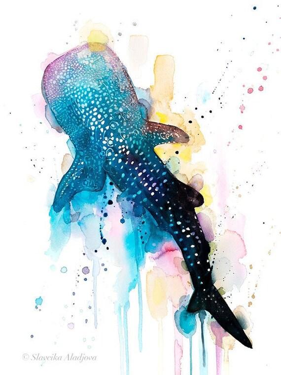 Original Watercolour Painting- Whale shark art, animal, illustration, animal watercolor, animals paintings, animals, portrait,