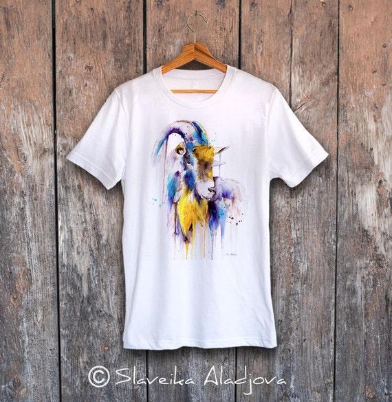 Goat T-shirt, Unisex T-shirt, ring spun Cotton 100%, watercolor T-shirt, T shirt art, T shirt animal, XS, S, M, L, XL, XXL