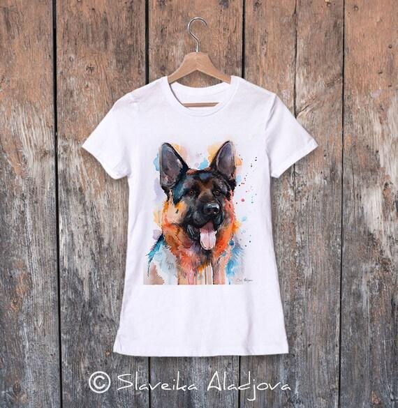 German Shepherd watercolor ladies' T-shirt, women's tees, Teen Clothing, Girls' Clothing, ring spun Cotton 100%, watercolor print