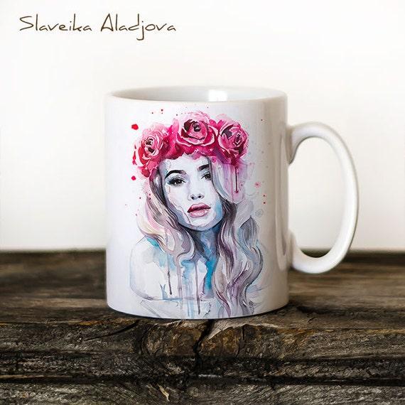 Red Rose Crown Mug Watercolor Ceramic Mug Unique Gift Coffee Mug Animal Mug Tea Cup Art Illustration Cool Kitchen Art Printed mug