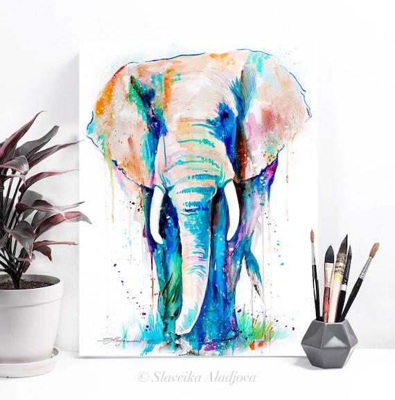 African Elephant watercolor painting print by Slaveika Aladjova, art, animal, illustration, home decor, Nursery, gift, Wildlife, wall art