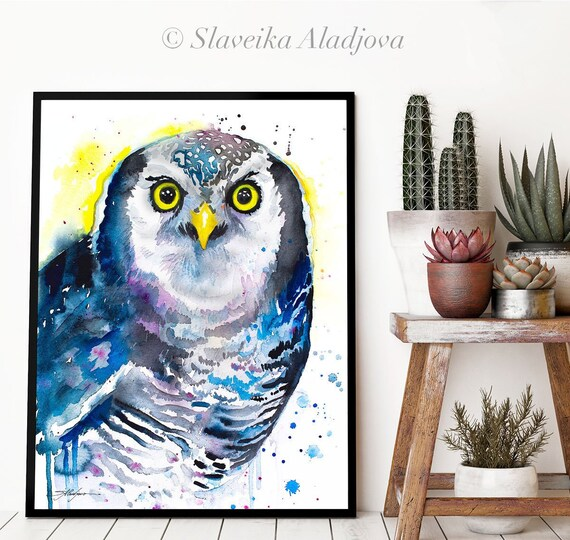 Northern hawk owl watercolor framed canvas by Slaveika Aladjova, Limited edition, art, animal, animal illustration,bird art