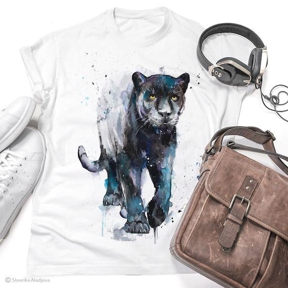 Black Panther watercolor ladies' T-shirt, women's tees, Teen Clothing, Girls' Clothing, ring spun Cotton 100%, watercolor print