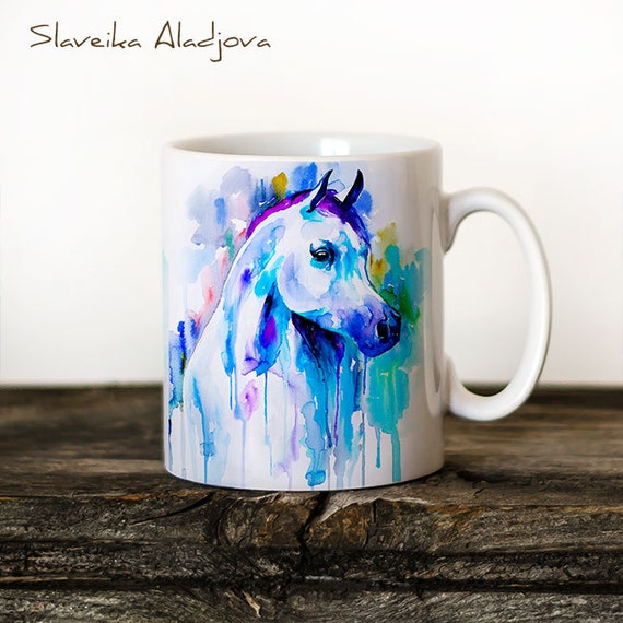 Horse 2 Mug Watercolor Ceramic Mug Unique Gift Coffee Mug Animal Mug Tea Cup Art Illustration Cool Kitchen Art Printed mug