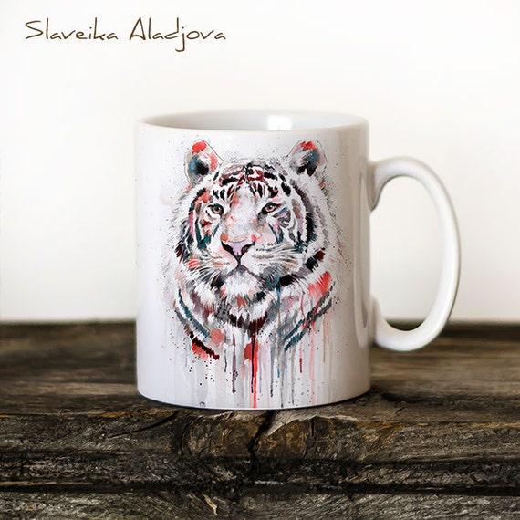 White Tiger 2 Mug Watercolor Ceramic Mug Unique Gift Coffee Mug Animal Mug Tea Cup Art Illustration Cool Kitchen Art Printed mug