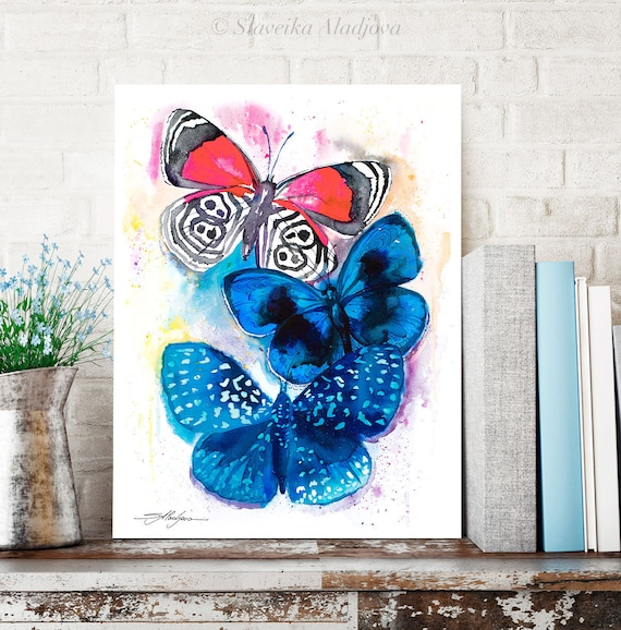 Blue and Red Butterfly watercolor painting print by Slaveika Aladjova, art, animal, illustration, home decor, Nursery, wall art,