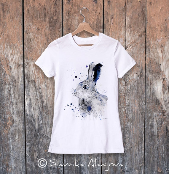 Hare Rabbit watercolor ladies' T-shirt, women's tees, Teen Clothing, Girls' Clothing, ring spun Cotton 100%,watercolor print