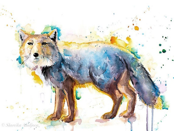 Original Watercolour Painting- Tibetan Fox art, animal, illustration, animal watercolor, animals paintings, animals, portrait,