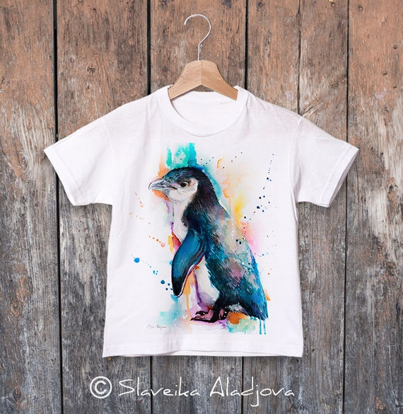 Little Blue Penguin watercolor kids T-shirt, Boys' Clothing, Girls' Clothing, ring spun Cotton 100%, watercolor print T-shirt, T shirt art