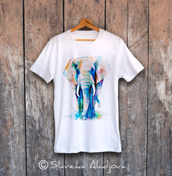 African Elephant T-shirt, Unisex T-shirt, ring spun Cotton 100%, watercolor print T-shirt, T shirt art, T shirt animal, XS, S, M, L, XL, XXL