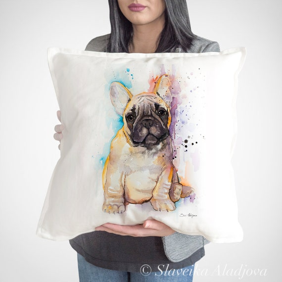 Fawn French Bulldog throw pillow cover by Slaveika Aladjova,cushion cover, Decorative Pillow Cover, Animal Art, Watercolor pillow,