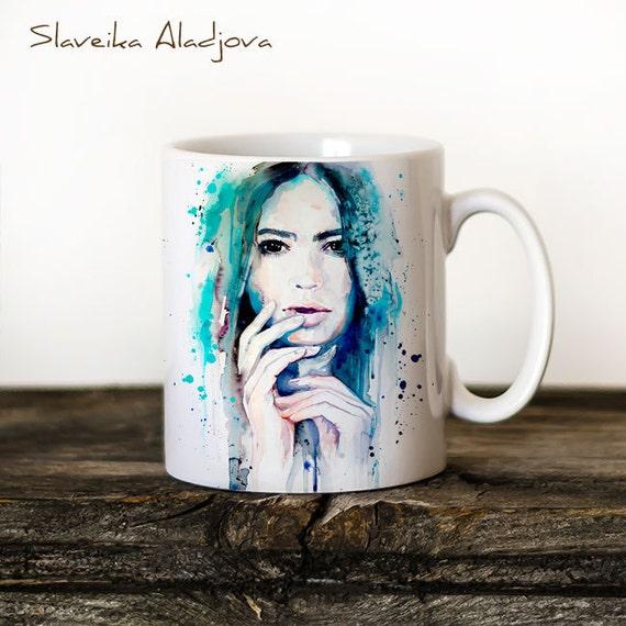 Blue Girl Mug Watercolor Ceramic Mug Unique Gift Coffee Mug Animal Mug Tea Cup Art Illustration Cool Kitchen Art Printed mug