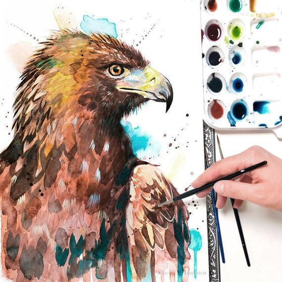 Golden Eagle watercolor painting print by Slaveika Aladjova, art, animal, illustration, bird, home decor, wall art, gift, portrait,