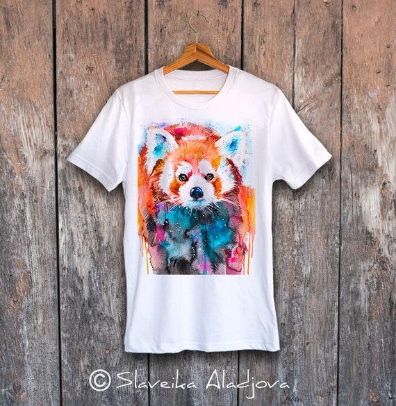 Panda T-shirt, Red panda Unisex T-shirt print, Men's tees, Red panda Lover Gift, watercolor print, ring spun Cotton 100%, Colourful print