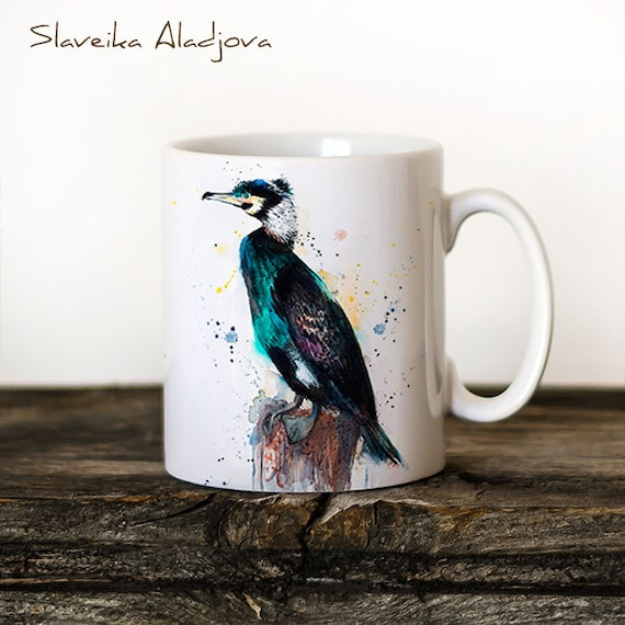 Cormorant Mug Watercolor Ceramic Mug Unique Gift Coffee Mug Animal Mug Tea Cup Art Illustration Cool Kitchen Art Printed