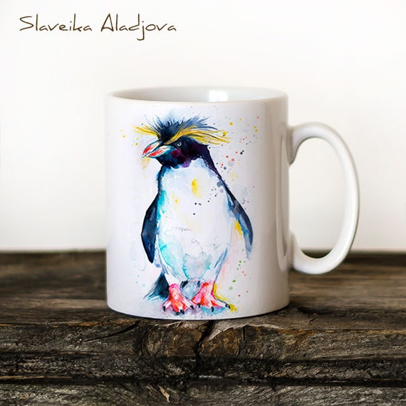 Rockhopper penguin Mug Watercolor Ceramic Mug Unique Gift Coffee Mug Animal Mug Tea Cup Art Illustration Cool Kitchen Art Printed