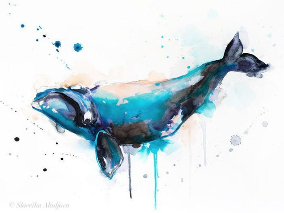 Original Watercolour Painting- Right whale art, animal, illustration, animal watercolor, animals paintings, animals, portrait,