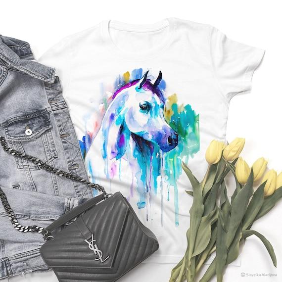 Arabian horse T-shirt, ladies' T-shirt, women's tees, horse Lover Gift, Animal T-shirt, ring spun Cotton 100%, watercolor print