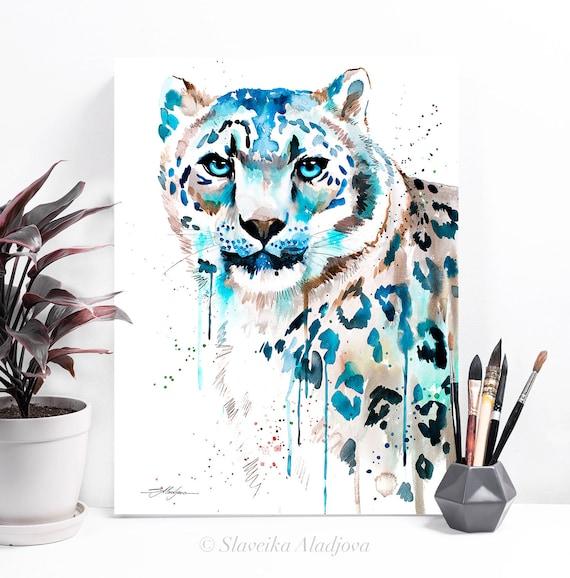 Snow leopard watercolor painting print by Slaveika Aladjova, art, animal, illustration, home decor, Nursery, gift, Wildlife, wall art