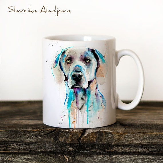 Weimaraner Mug Watercolor Ceramic Mug Unique Gift Coffee Mug Animal Mug Tea Cup Art Illustration Cool Kitchen Art Printed mug dog