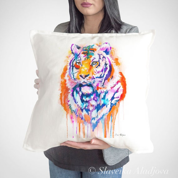 Tiger throw pillow cover by Slaveika Aladjova, cushion cover, Decorative Pillow Cover, Animal Art, Watercolor pillow, Christmas gift