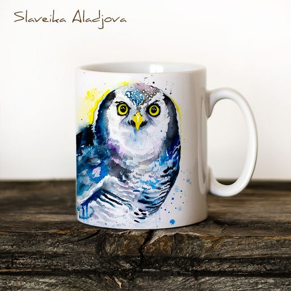 Northern hawk owl Mug Watercolor Ceramic Mug Unique Gift Coffee Mug Animal Mug Tea Cup Art Illustration Cool Kitchen Art Printed mug Bird
