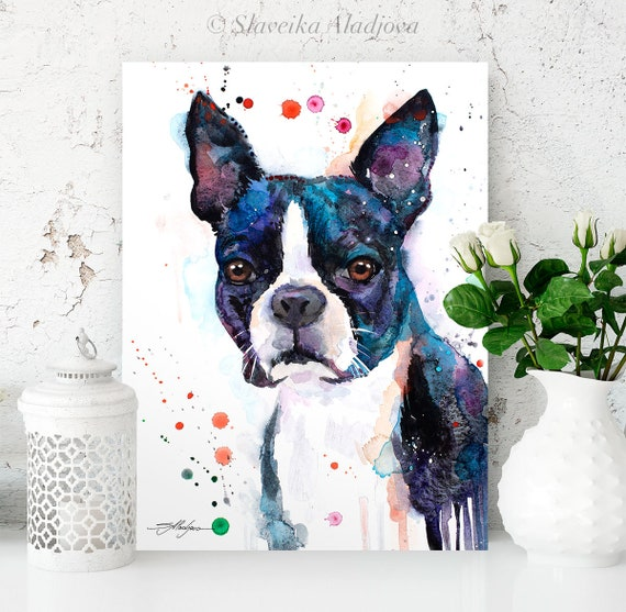 Boston Terrier watercolor painting print by Slaveika Aladjova, animal, illustration, home decor, Nursery, Contemporary, dog art, wall art