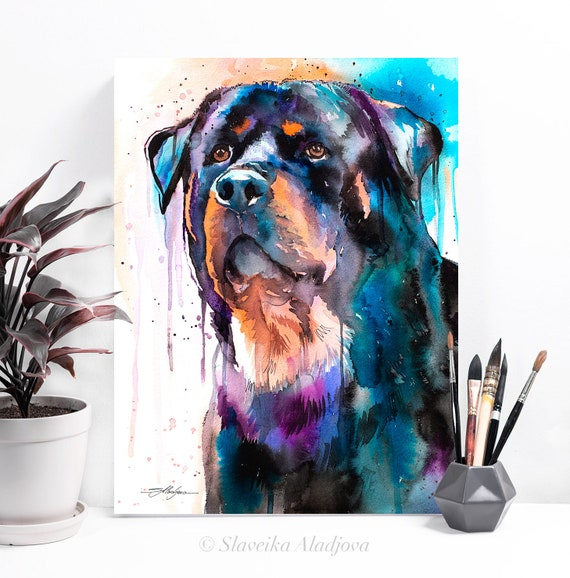 Rottweiler watercolor painting print by Slaveika Aladjova, animal, illustration, home decor, Nursery, Contemporary, dog art, wall art