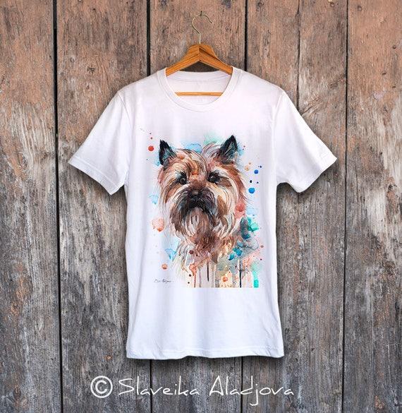 Cairn Terrier T-shirt, Unisex T-shirt, ring spun Cotton 100%, watercolor print T-shirt, T shirt art, T shirt animal,XS, S, M, L, XL, XXL