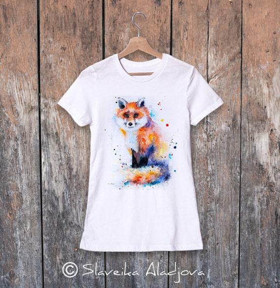 Fox watercolor ladies' T-shirt, women's tees, Teen Clothing, Girls' Clothing, ring spun Cotton 100%, watercolor print