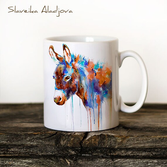 Donkey Mug Watercolor Ceramic Mug Elephant Unique Gift Coffee Mug Animal Mug Tea Cup Art Illustration Cool Kitchen Art Printed mug