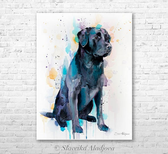 Original Watercolour Painting- Black Labrador art, animal, illustration, animal watercolor, animals paintings, animals, portrait,