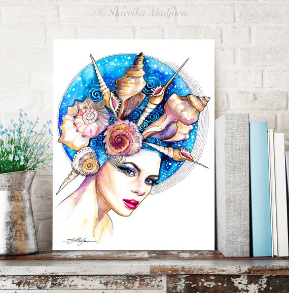 Sea girl watercolor painting print by Slaveika Aladjova, Fashion Illustration, Illustration, watercolour, wall art, home decor