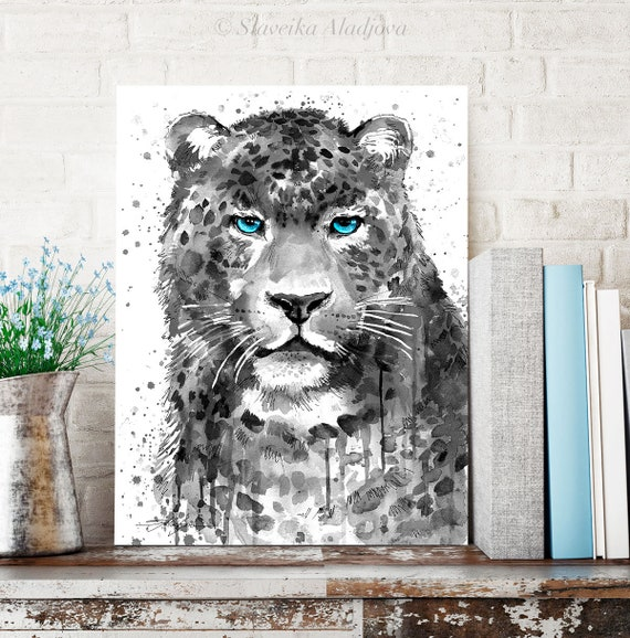 Black and white Panther Leopard Jaguar watercolor painting print by Slaveika Aladjova, animal, illustration, home decor, Wildlife, wall art