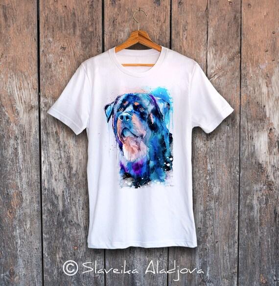 Rottweiler T-shirt, Unisex T-shirt, ring spun Cotton 100%, watercolor print T-shirt, T shirt art, T shirt animal,XS, S, M, L, XL, XXL