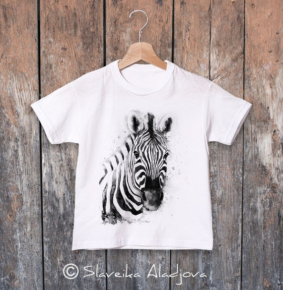 Zebra watercolor kids T-shirt, Boys' Clothing, Girls' Clothing, ring spun Cotton 100%, watercolor print T-shirt, T shirt art