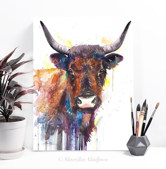 Cow watercolor painting print by Slaveika Aladjova, animal art, illustration,wall art, home decor, gift, Giclee Print, Cow, farm