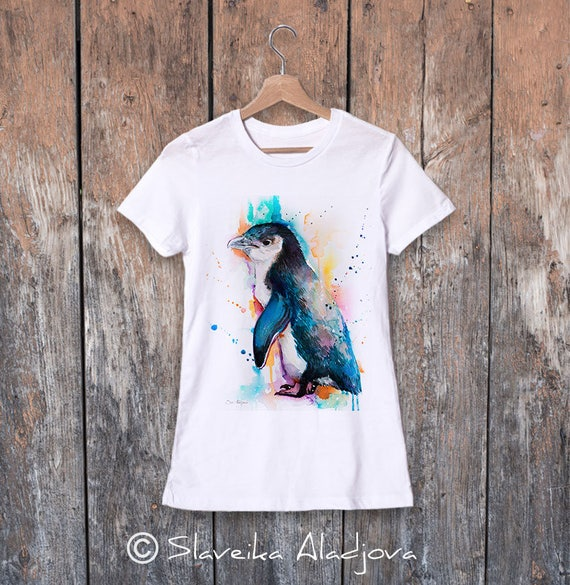 Little Blue Penguin watercolor ladies' T-shirt, women's tees, Teen Clothing, Girls' Clothing, ring spun Cotton 100%, watercolor print