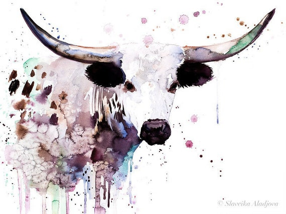 Original Watercolour Painting- Longhorn art, animal, illustration, animal watercolor, animals paintings, animals, portrait,
