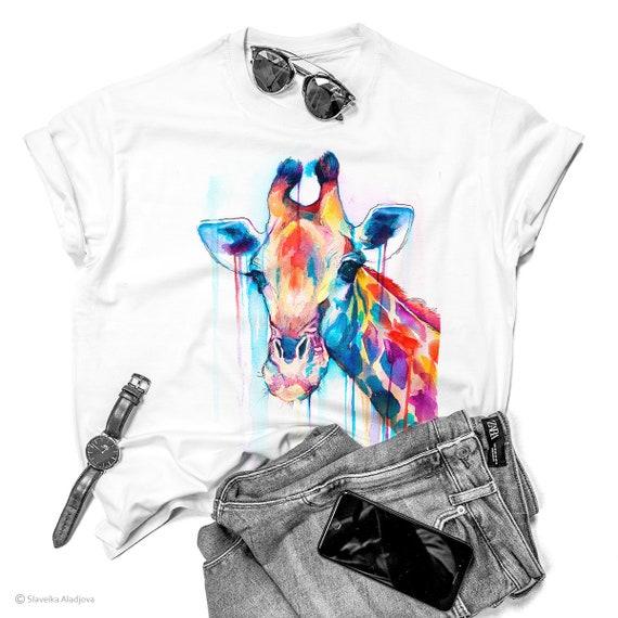 Giraffe watercolor ladies' T-shirt, women's tees, Teen Clothing, Girls' Clothing, ring spun Cotton 100%, watercolor print