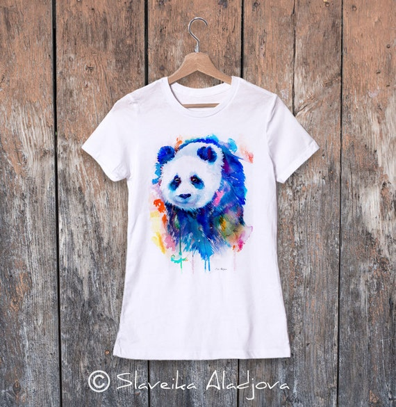 Panda watercolor ladies' T-shirt, women's tees, Teen Clothing, Girls' Clothing, ring spun Cotton 100%, watercolor print T-shirt,art