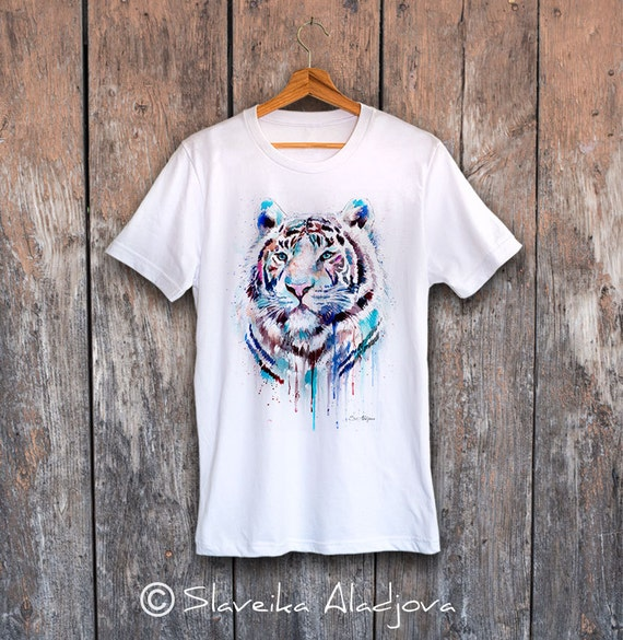 White Tiger  T-shirt, Unisex T-shirt, ring spun Cotton 100%, watercolor print T-shirt, T shirt art, T shirt animal, XS, S, M, L, XL, XXL