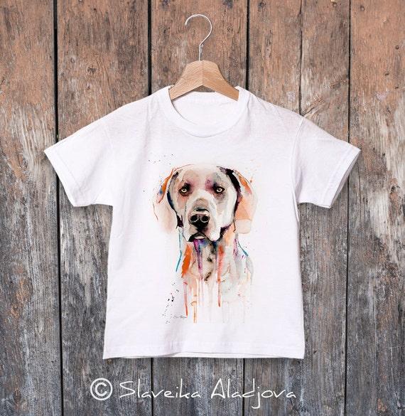 Weimaraner watercolor kids T-shirt, Boys' Clothing, Girls' Clothing, ring spun Cotton 100%, watercolor print T-shirt, T shirt art