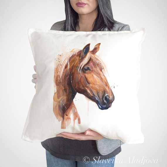 Suffolk Punch throw pillow cover by Slaveika Aladjova, cushion cover, Decorative Pillow Cover, Animal Art, Watercolor pillow, Christmas gift