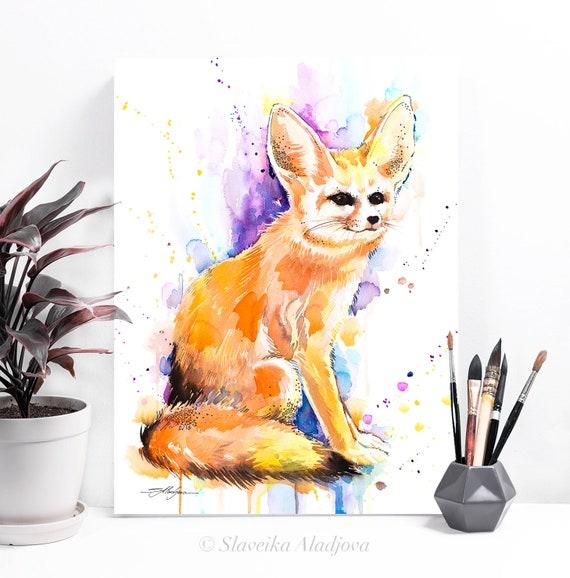 Fennec fox, Sahara watercolor painting print  by Slaveika Aladjova, art, animal, illustration, home decor, Nursery, gift, Wildlife, wall art