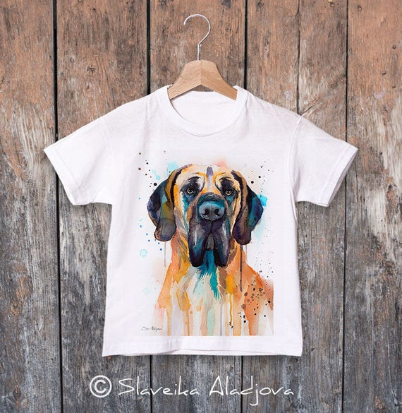 Fawn Great Dane watercolor kids T-shirt, Boys' Clothing,Girls' Clothing, ring spun Cotton 100%, watercolor print T-shirt,T shirt art