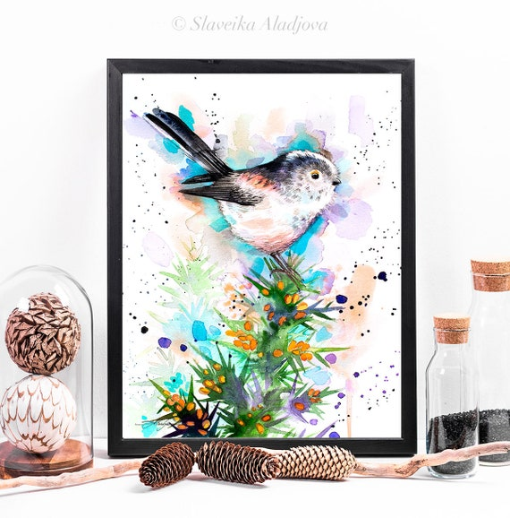 Long-tailed tit watercolor framed canvas by Slaveika Aladjova, Limited edition, art, animal watercolor, animal illustration,bird art