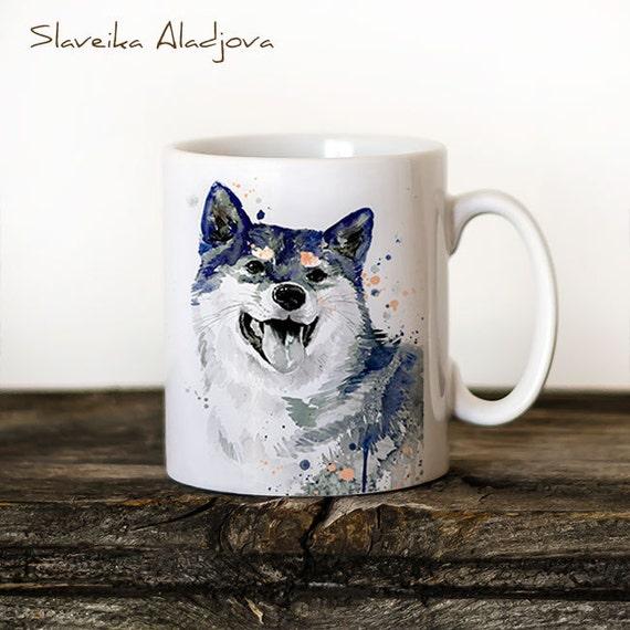 Shiba Inu 2 Mug Watercolor Ceramic Mug Unique Gift Coffee Mug Animal Mug Tea Cup Art Illustration Cool Kitchen Art Printed