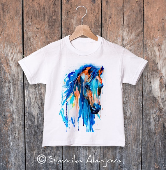 Horse watercolor kids T-shirt, Boys' Clothing, Girls' Clothing, ring spun Cotton 100%, watercolor print T-shirt,T shirt art